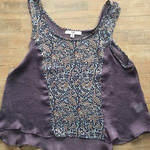 Super cute sheer floral and purple tank top